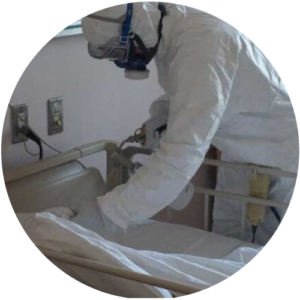 新型コロナ患者受入れ病棟での消毒